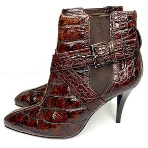 Donald J. Pliner Ankle Stiletto Booties Croc Skin